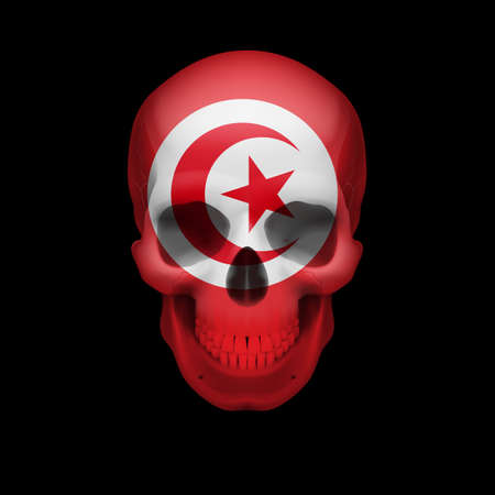 Human skull with flag of Tunisia. Threat to national security, war or dying out Stock Vector - 28624700