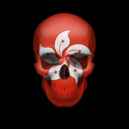 dying: Human skull with flag of Hong Kong. Threat to national security, war or dying out