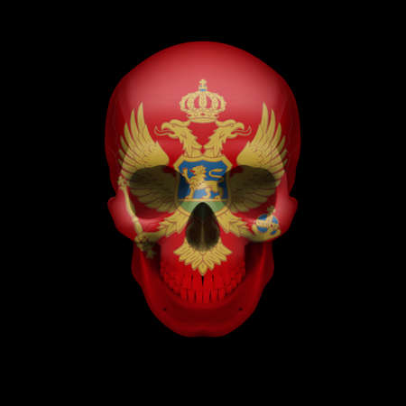 skull cranium: Human skull with flag of Montenegro. Threat to national security, war or dying out