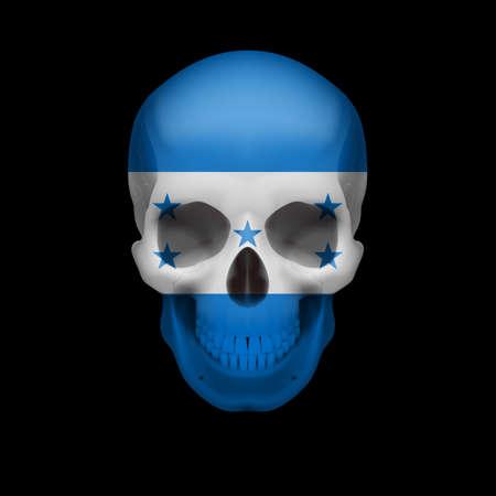 bandera honduras: Cráneo humano con la bandera de Honduras. Amenaza a la seguridad nacional, la guerra o en vías de desaparición