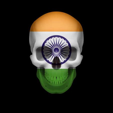 dying: Human skull with flag of India. Threat to national security, war or dying out