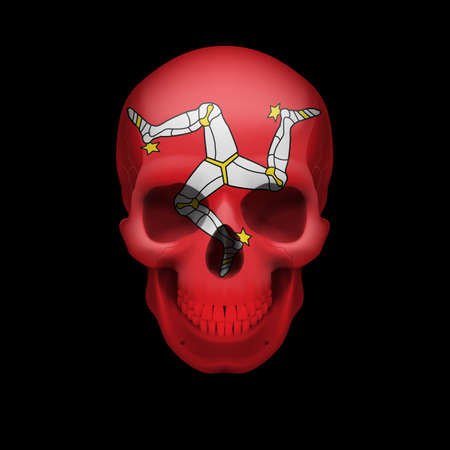 isle: Human skull with flag of Isle of Man. Threat to national security, war or dying out