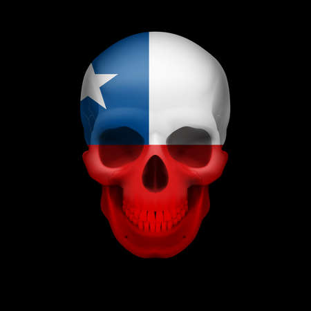 chile flag: Human skull with flag of Chile. Threat to national security, war or dying out
