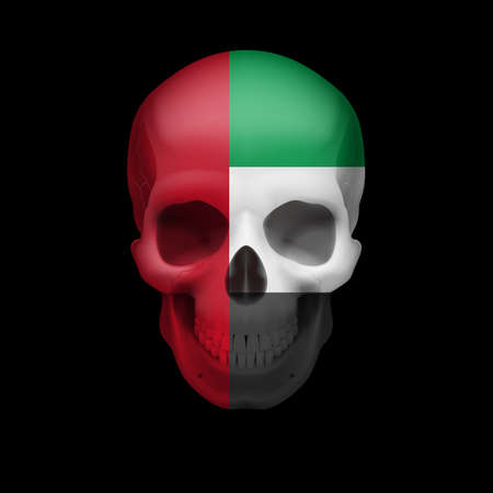 dying: Human skull with flag of United Arab Emirates. Threat to national security, war or dying out