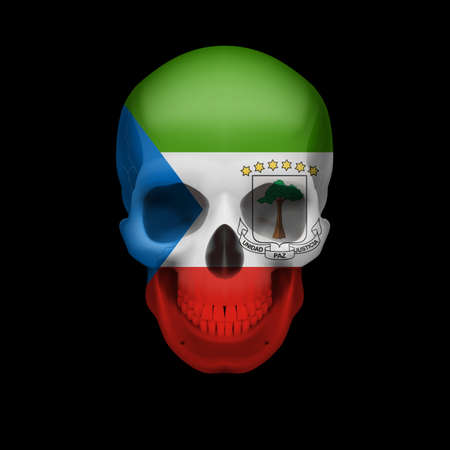 guinea: Human skull with flag of Equatorial Guinea. Threat to national security, war or dying out Illustration