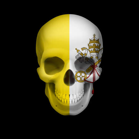 Human skull with flag of Vatican City. Threat to national security, war or dying out