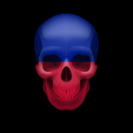 Human skull with flag of Haiti. Threat to national security, war or dying out Vector