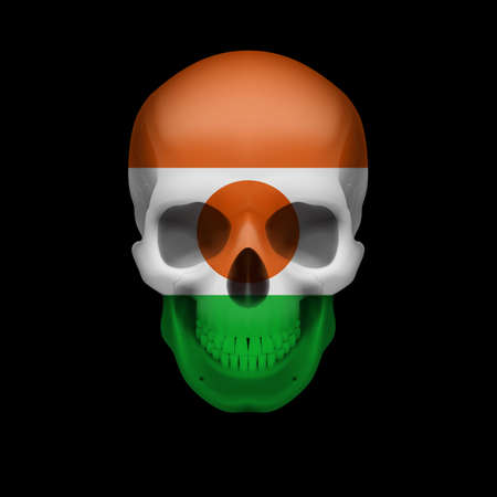 niger: Human skull with flag of Niger. Threat to national security, war or dying out