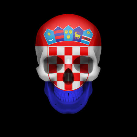 croatia flag: Human skull with flag of Croatia. Threat to national security, war or dying out