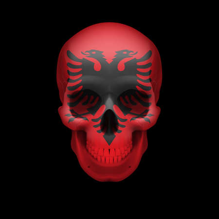 albanian: Human skull with flag of Albania. Threat to national security, war or dying out