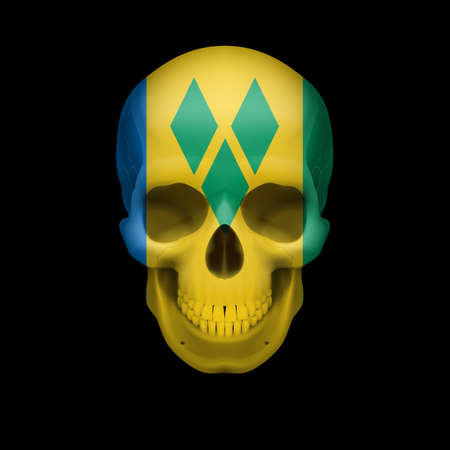 dying: Human skull with flag of Saint Vincent and the Grenadines. Threat to national security, war or dying out Illustration