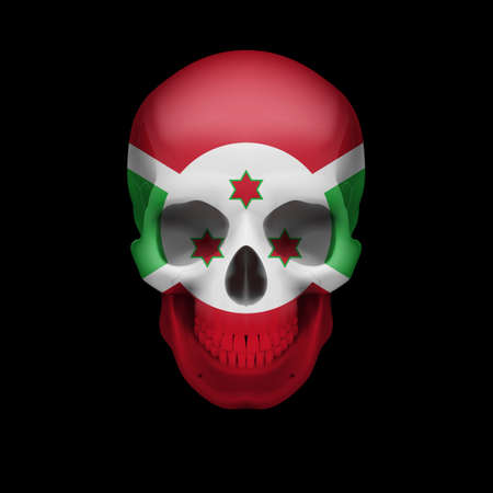 threat: Human skull with flag of Burundi. Threat to national security, war or dying out Illustration