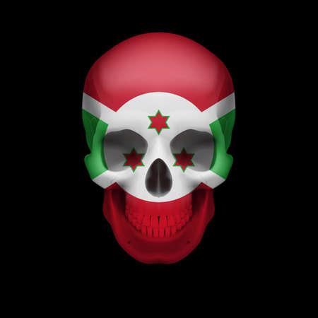burundi: Human skull with flag of Burundi. Threat to national security, war or dying out Illustration