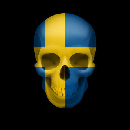 dying: Human skull with flag of Sweden. Threat to national security, war or dying out