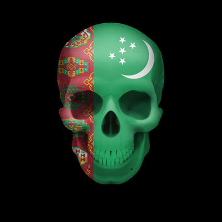 turkmenistan: Human skull with flag of Turkmenistan. Threat to national security, war or dying out