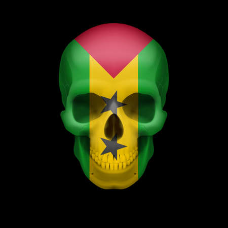 Human skull with flag of Sao Tome and Principe. Threat to national security, war or dying out Vector