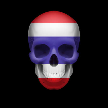 dying: Human skull with flag of Thailand. Threat to national security, war or dying out Illustration