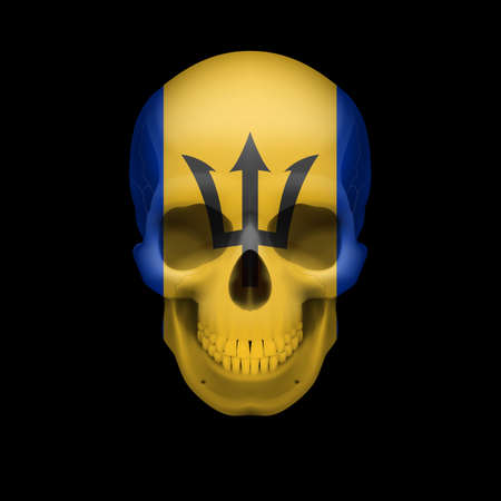 barbados: Human skull with flag of Barbados Threat to national security, war or dying out