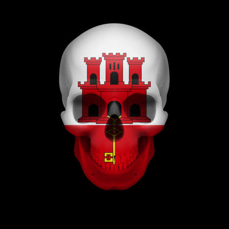 skull cranium: Human skull with flag of Gibraltar. Threat to national security, war or dying out Illustration