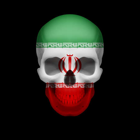 Human skull with flag of Iran. Threat to national security, war or dying out Vector