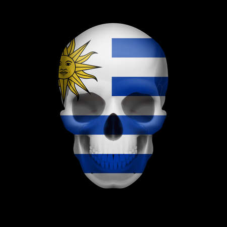 uruguay: Human skull with flag of Uruguay. Threat to national security, war or dying out Illustration