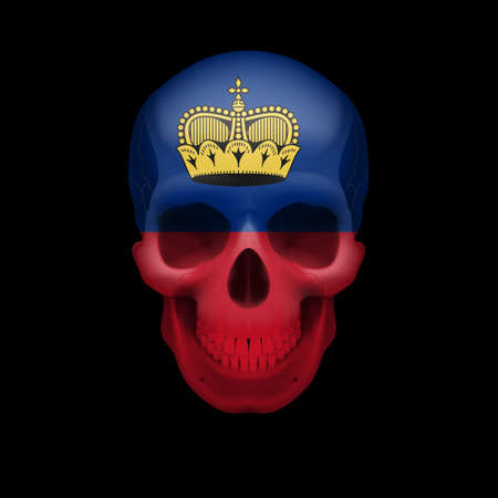 dying: Human skull with flag of Liechtenstein. Threat to national security, war or dying out