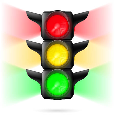 sidelight: Realistic traffic lights with all three colors on and sidelight. Illustration on white background