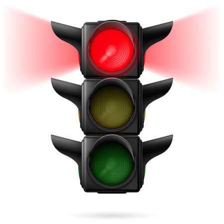 sidelight: Realistic traffic lights with red color on and sidelight. Illustration on white background Illustration