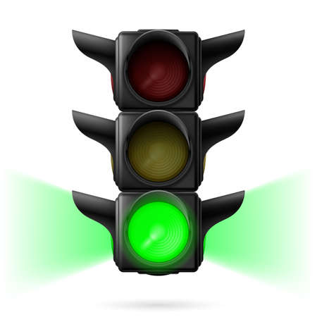 sidelight: Realistic traffic lights with green color on and sidelight. Illustration on white background