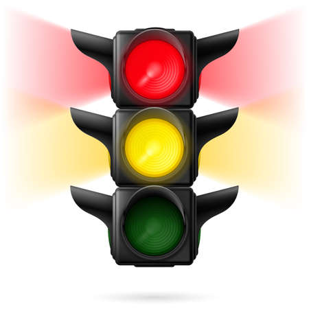 sidelight: Realistic traffic lights with red and yellow colors on with sidelight. Illustration on white background