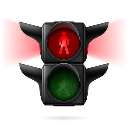 Realistic pedestrian traffic lights with red lamp on and sidelight. Illustration on white background Vector