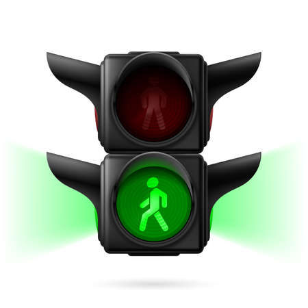 Realistic pedestrian traffic lights with green light on and sidelight. Illustration on white background Vector