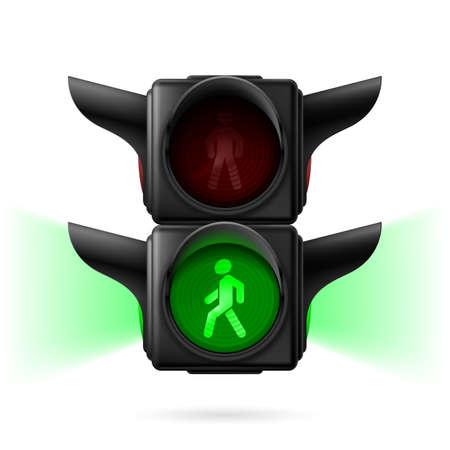 semaforo peatonal: Tráfico peatonal realista ilumina con luz verde y la luz de posición. Ilustración sobre fondo blanco