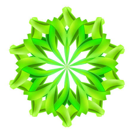 cut flowers: Abstract green design element made of paper or ribbons