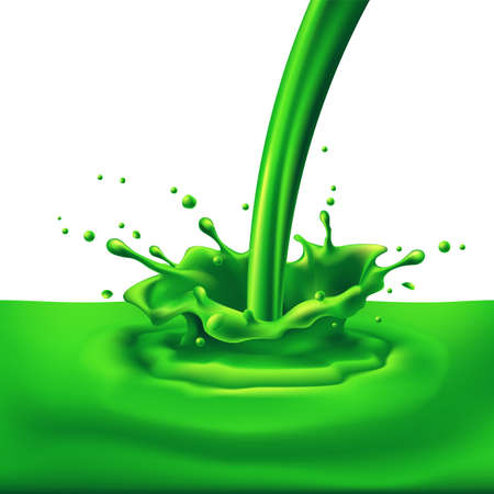 ink spill: Pouring of green paint with splashes. Bright illustration on white background