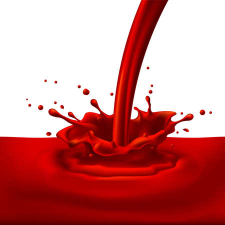 Pouring of red paint with splashes. Bright illustration on white background  Vector