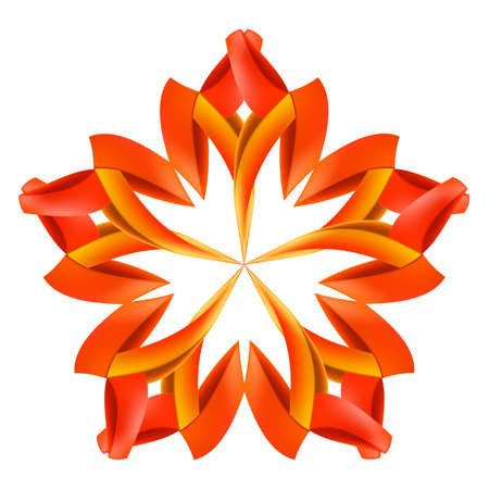 cut flowers: Abstract red and orange design element made of paper or ribbons
