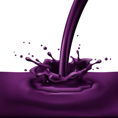 Pouring of violet paint with splashes. Bright illustration on white background  Illustration