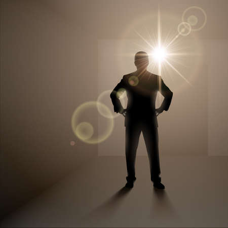 man standing alone: Black man silhouette standing alone in dark room with bright light behind Illustration