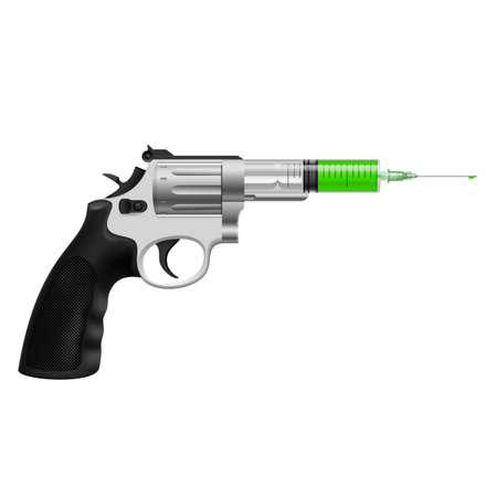 gunshot: Syringe with green liquid in revolver. Killing injection, medicine or drug