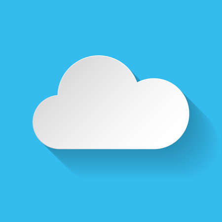 cloudy weather: White paper cloud in flat style on blue background