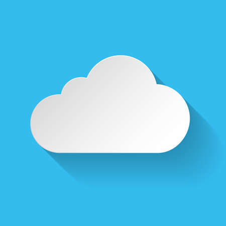 Paper cloud in flat style with long shadow on blue background Vector