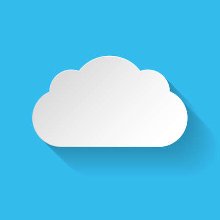 White paper cloud in flat style with long shadow on blue background Illustration