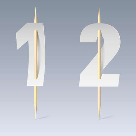 pierce: Illustration of white paper cut font on toothpicks on grey background. 1 and 2 numerals Illustration