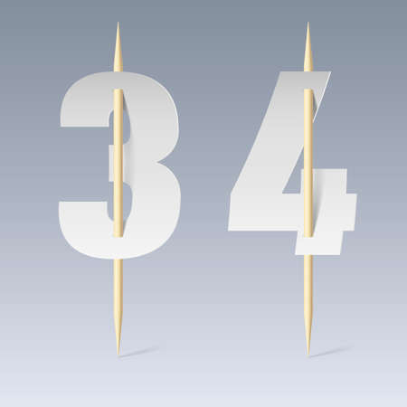 pierce: Illustration of white paper cut font on toothpicks on grey background. 3 and 4 numerals Illustration