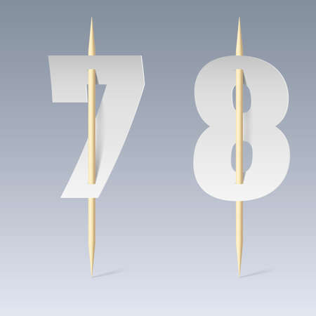 pierce: Illustration of white paper cut font on toothpicks on grey background. 7 and 8 numerals Illustration