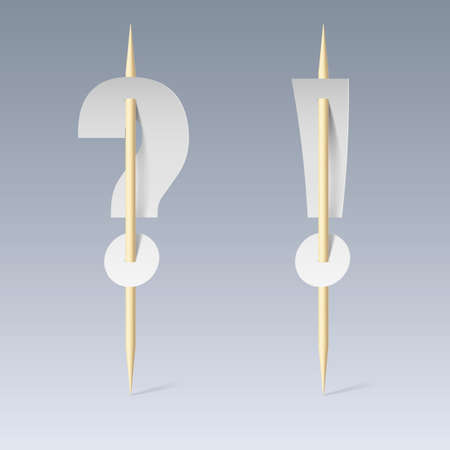 pierce: White paper cut font on toothpicks on grey background. Question and exclamation marks