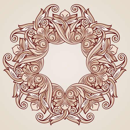 tints: Round ornate pattern in pastel rose pink tints Illustration