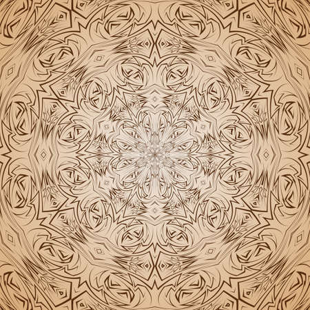 sharp curve: Abstract pattern in beige and brown with sharp line round ornament Illustration