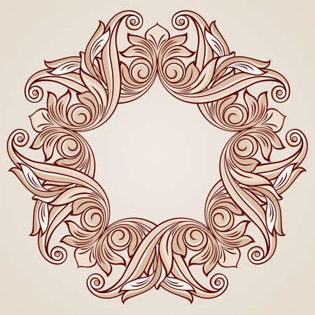 florid: Round florid pattern in pastel rose pink tints